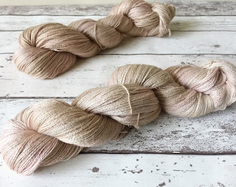 Alpaca Lace in Sand Blossom: Naturally hand-dyed Lace weight yarn in Baby Alpaca, Silk and Linen 100g / 600m
