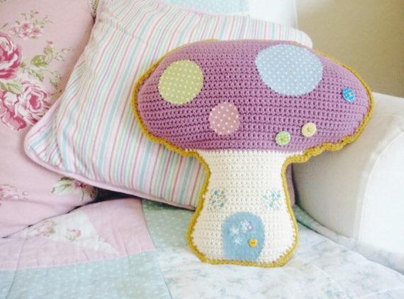 Crochet mushroom pillow