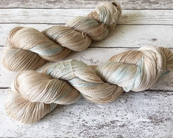 Silk Lace in Oyster: Naturally hand-dyed Lace weight yarn in 25 Micron Superwash Merino and Silk 100g / 800m