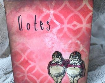 notepad - jotter -Alice  in Wonderland - notes - Tweedledee and Tweedledum  - handmade - vintage - make a note -lists - memo pad   - gift