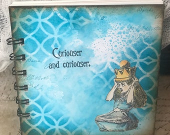 notebook - notes - handmade - vintage - alice in wonderland - turquoise - square