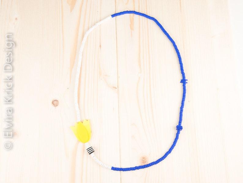 Dutch Design Polymer clay jewellery Handmade beads Flower necklace all beads handmade Tulip bead necklace