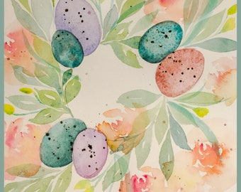 Spring Wreath - Original Watercolor by Lexi Grenzer