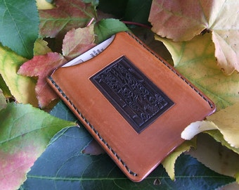 Bungalow Heaven Vintage Stamp Allison Leatherworks USA handmade/handstitched Slimline Wallet Cardholder Custom Dyed