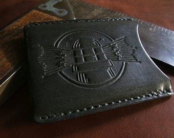 ALW USA Midnight The Illuminator Vintage Stamped Allison Leatherworks handmade handstitched Slimline Wallet Cardholder