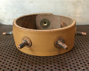 USA Handmade Reclaimed French Ammo Pouch Leather Cuff Bracelet Allison Leatherworks California