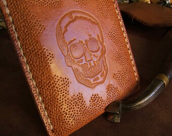 The Core ALW USA Skull Vintage Stamp Allison Leatherworks handmade handstitched Slimline Wallet Cardholder Textured