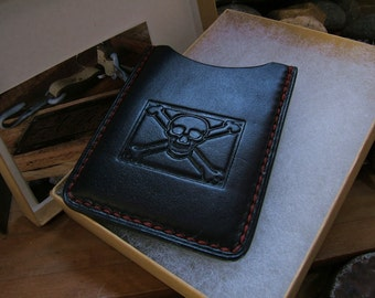 No Quarter ALW USA Allison Leatherworks handmade handstitched Slimline Wallet Cardholder Vintage Jolly Roger Pirate Stamp Skull & Crossbones