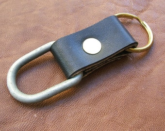 Handmade Allison Leatherworks USA English Bridle Keychain Reclaimed East German Surplus Brass Ring California Made