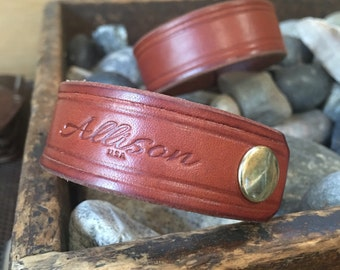 USA Handmade English Bridle Leather Cuff Bracelet Allison Leatherwork California