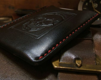 Enmarcado ALW USA Skull Vintage Stamp Allison Leatherworks handmade handstitched Slimline Wallet Cardholder We All Gotta Go Framed
