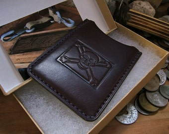Admiral of The Black ALW USA Allison Leatherworks handmade handstitched Slimline Wallet Cardholder Vintage Jolly Roger Pirate Skull Stamp
