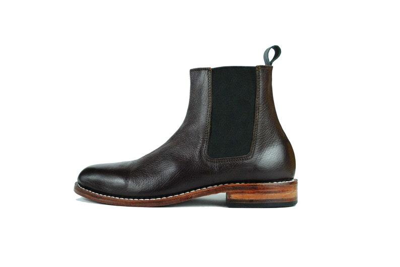check out d04a7 0ce6f Chelsea Boots - braun Kies Leder - Leder Ankle Boots - Handarbeit -  Goodyear rahmengenähte Stiefel