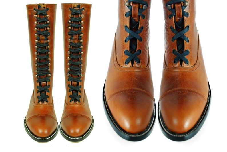Steampunk Boots and Shoes for Men HESSE Brown Worn In Leather LINEMAN Smooth Leather BALMORAL Goodyear Welted Boots. (All Sizes) $339.00 AT vintagedancer.com