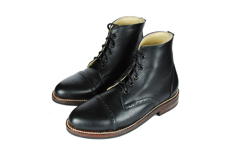 75a699665bef5 POE Brogue Boots. Cap Toe Ankle Boots. Goodyear Welted Boots. (All Men's  and Women's sizes)