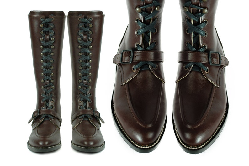 cbc4900b0cc79 RIMBAUD Lace Up Tall Boots, Moc Toe, Goodyear Welt, Dark Brown Leather  Combat. (All Sizes)