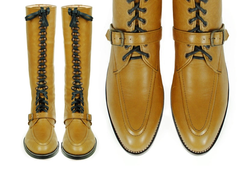 6af014796dc65 RIMBAUD Lace Up Tall Boots, MOC Toe, Goodyear Welted. (All Sizes)