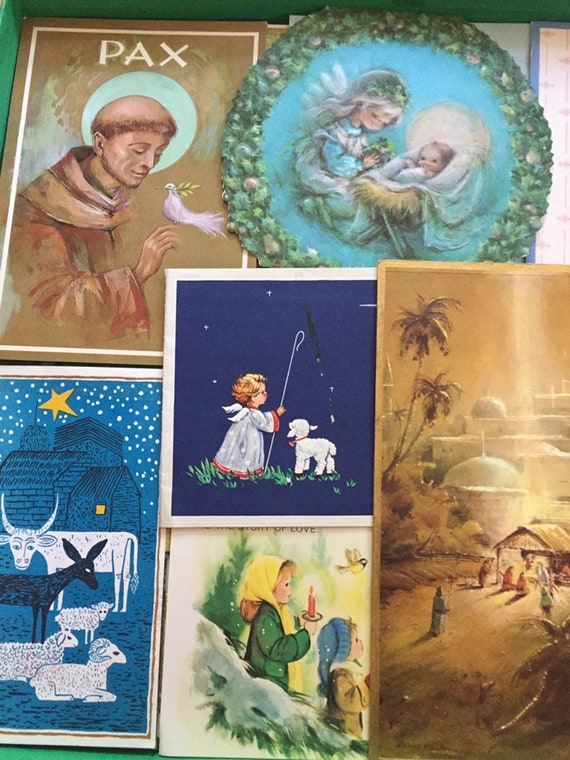 Religious Christmas Cards For Children.25 Used Vintage Nativity And Religious Christmas Cards For Use In Holiday Paper Crafts Ranging From The 1960s Through The 1990s
