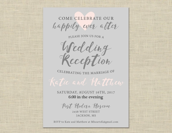 printable wedding reception invitation celebration after etsy
