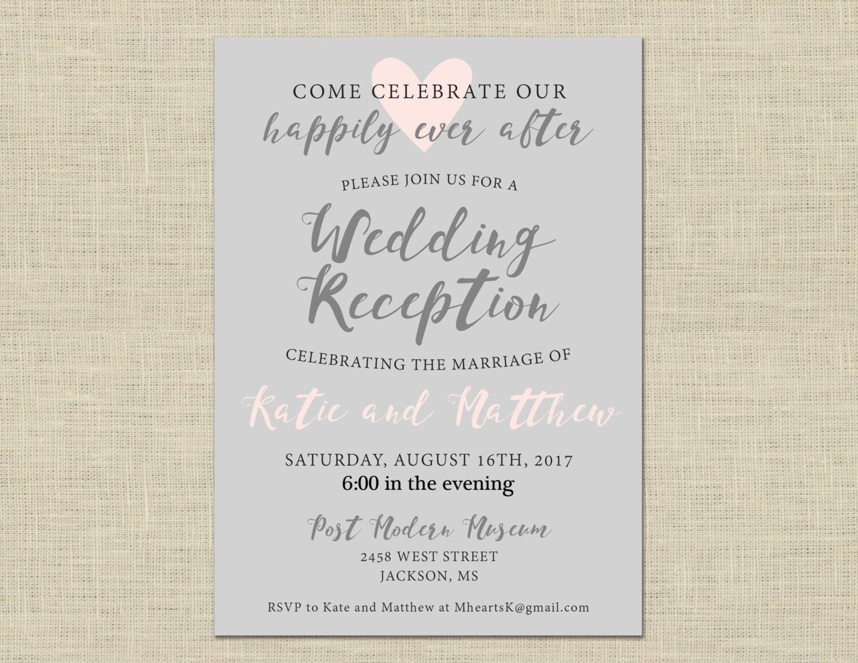 Printable Wedding Reception Invitation Celebration After | Etsy