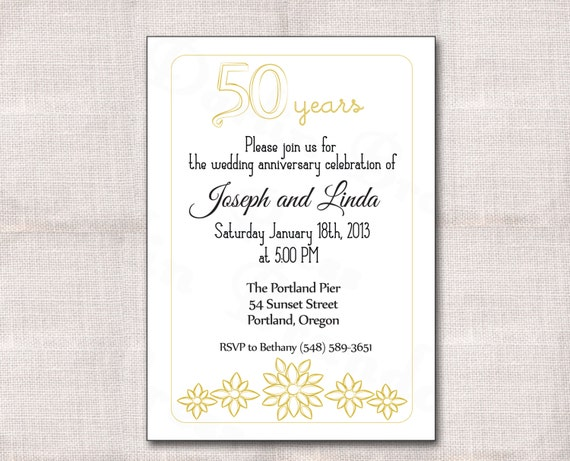Golden Wedding Anniversary Invitations: 5x7 50th Wedding Anniversary Invitation Golden Accents And