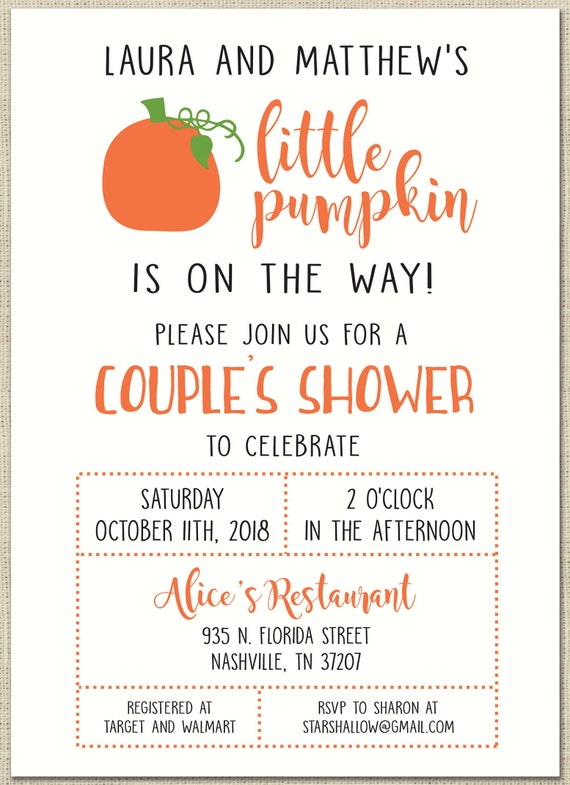 ef7f5ee36f83 Pumpkin Baby Shower Invitation custom printable Couples