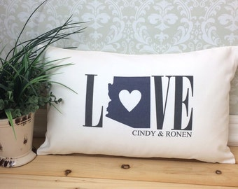 Arizona Love Pillow, Personalized Pillow, Love Pillow, Wedding Pillow, Anniversary Pillow, State Pillow, Arizona Pillow, Valentine Gift