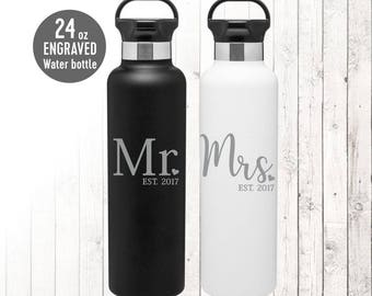 SET of Laser Engraved Stainless Steel Water Bottles, Personalized Water Bottles, Mr. and Mrs. Bride and Groom Matching Wedding Water Bottles