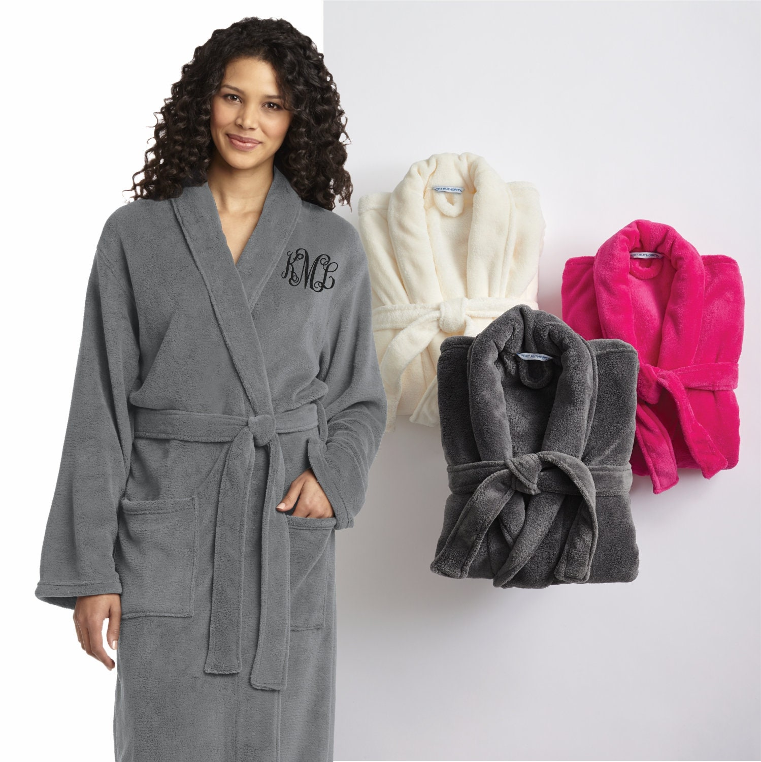 7025bd76c4 SET of 2 Personalized Plush Spa Robes Custom Monogrammed