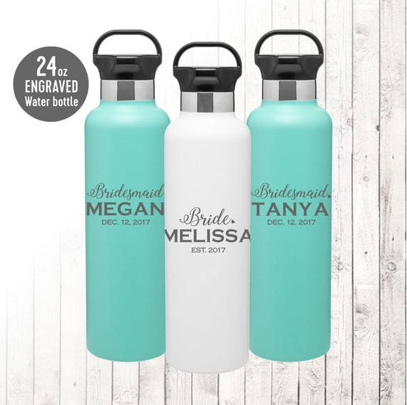 Personalized Water Bottle Stainless Steel double-walled with Straw Custom Name 27 oz SIC bottle Team Water Bottle Laser Engraved Wedding Bridal Party Bridesmaid Groomsmen Gift