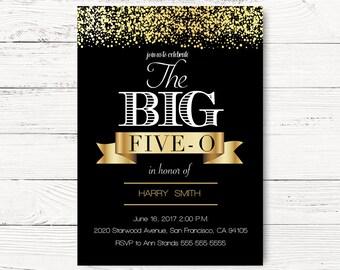 50th birthday invitations etsy 50th birthday invitation fiftieth birthday invite big five o invitation black gold invite 40 50 60 invite c078 filmwisefo