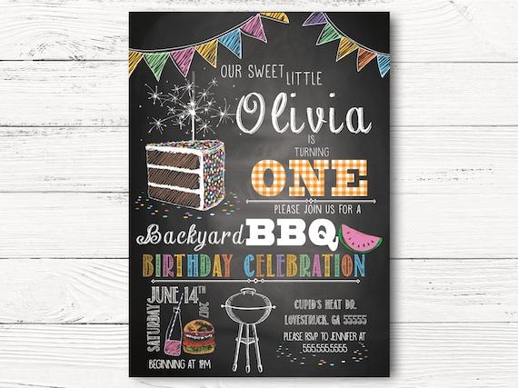 bbq birthday invitation girl first birthday invitations etsy