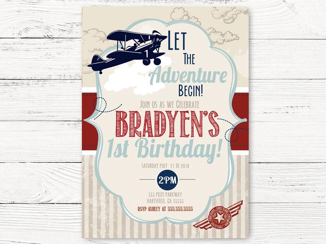 Digital Vintage Airplane First Birthday Airplane Invite | Etsy