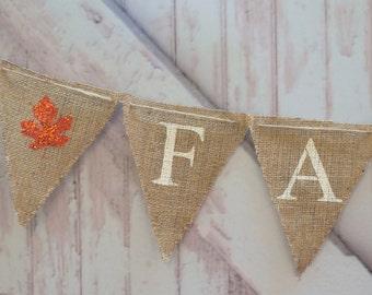 Fall Burlap Banner, Fall Banner, Fall Garland, Fall Glitter Banner, B023