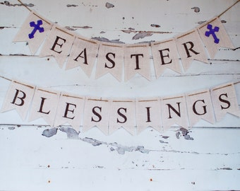 Easter Blessings Banner, Easter Blessings Burlap Banner, Easter Decor, Easter Banner, B114