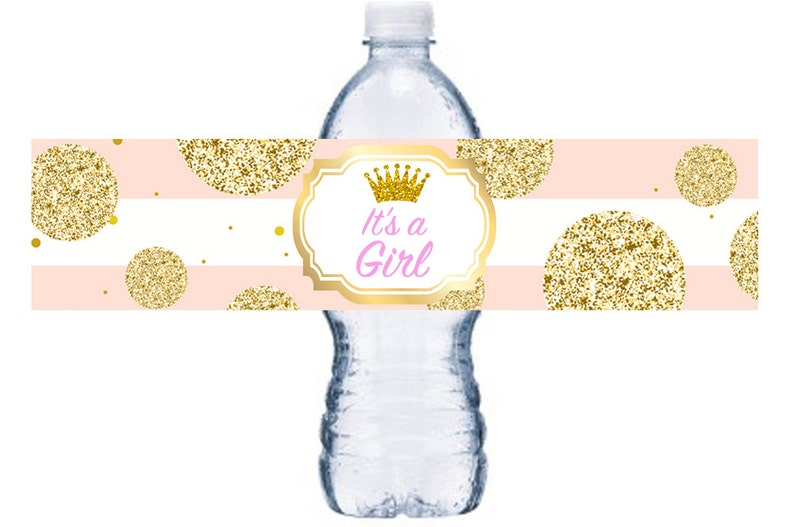 Princess Baby Shower Adhesive Bottle Wrap Digital It/'s A Girl Baby Shower Water Bottle Label Pink and Gold Baby Shower Decor BL003D