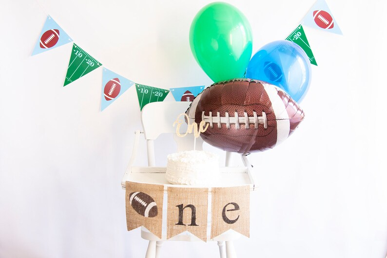 Football 1st Birthday Decor with Balloons Football 1st Birthday Decor Smash Cake Kit COL003 Football First Birthday Collection