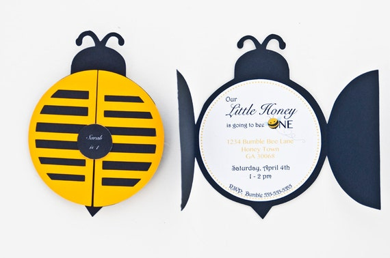 bumble bee party invitations bumble bee 1st birthday party etsy