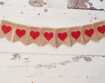 Valentines Decoration, Red Hearts Banner, Valentines Burlap Banner, Valentine Photo Prop, Valentines Day Gift, Hearts Garland, B007