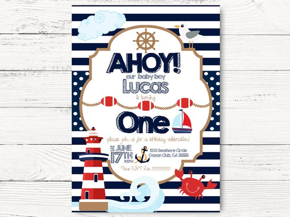 Nautical 1st Birthday Nautical Party Baby Boy Invite Boat
