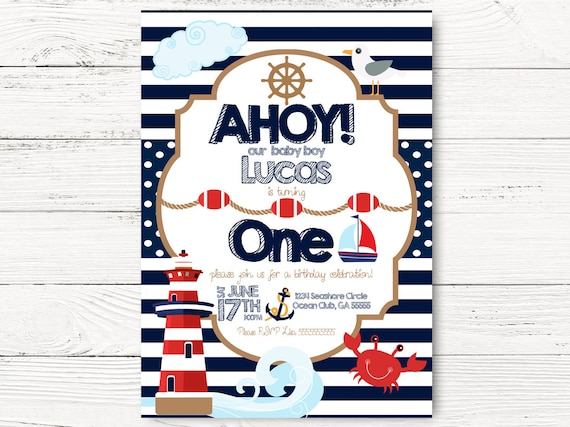 Nautical 1st Birthday Party Baby Boy Invite Boat