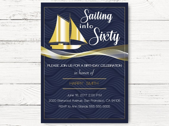 Digital Nautical Birthday Invitation Sailing Into Sixty