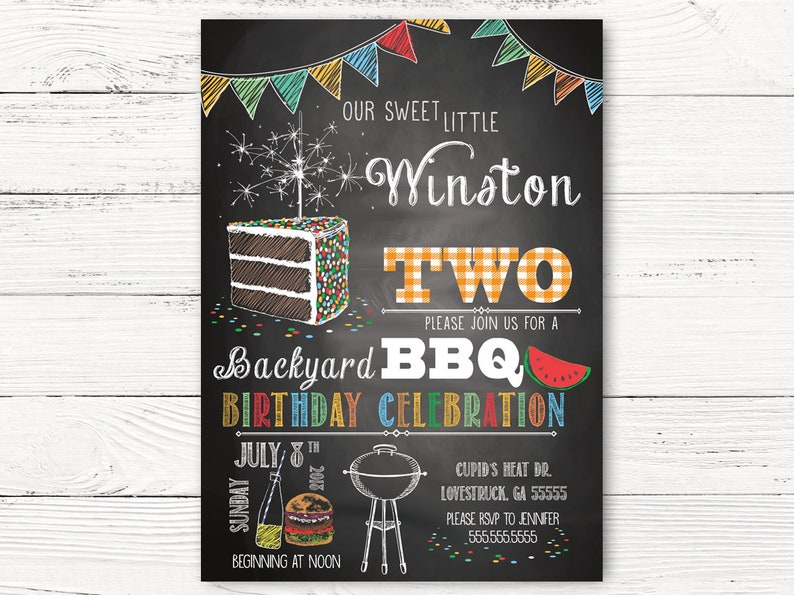 BBQ 2nd Birthday Invitation Boy Invitations