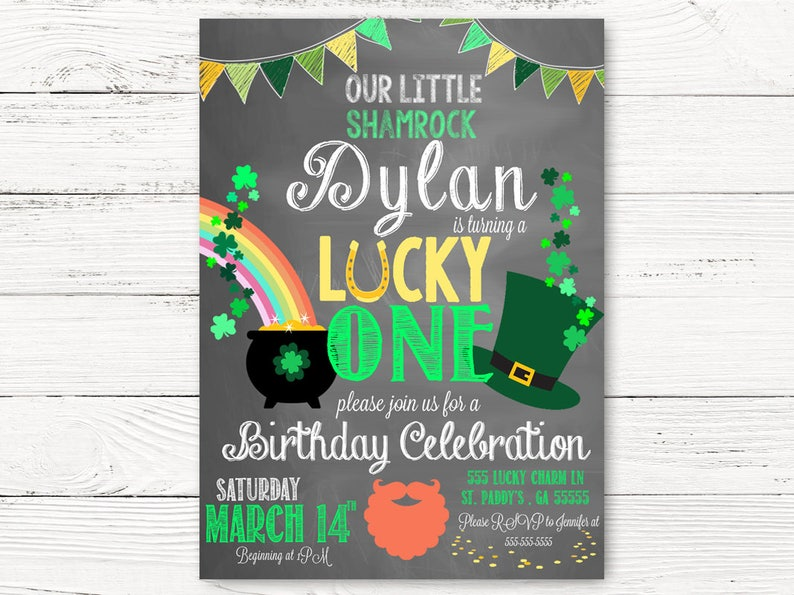 St. Patricks Day First Birthday Invitation Lucky One Party  1f8e4535d