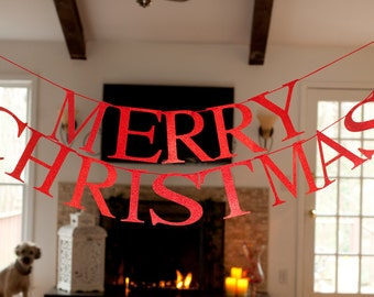 Merry Christmas Word Banner, Merry Christmas Red Glitter Banner, Christmas Garland, Merry Christmas Banner G005