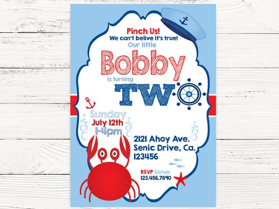 Nautical 2nd Birthday Party Baby Boy Invite Crab
