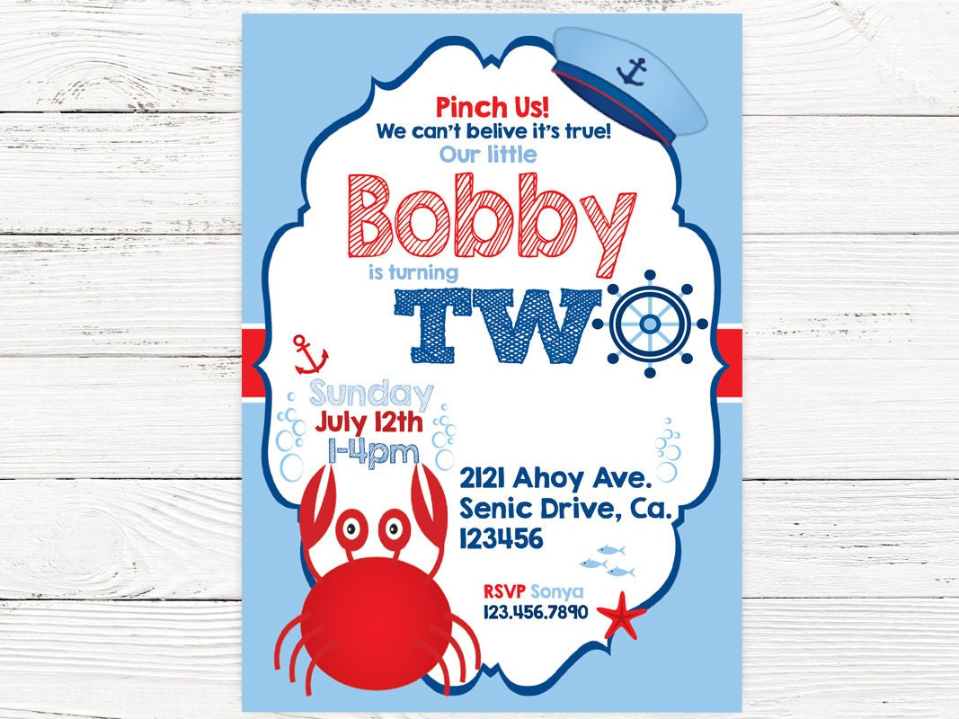 Nautical 2nd Birthday Party Baby Boy Invite Crab