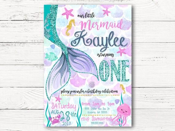 Mermaid Birthday Invitation Little First