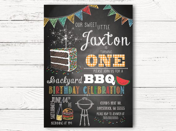 Boy First Birthday Invitations Personalized Backyard BBQ Invitation Invites 1st Cards C044