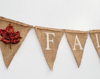 Fall Burlap Banner, Autumn Banner, Fall Decor, Fall Bunting Glittery Leaves, B025